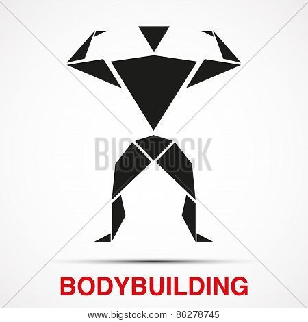 Workout logo with bodybuilder triangle man. Vector Illustration