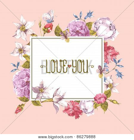 Watercolor Greeting Card with Blooming Flowers