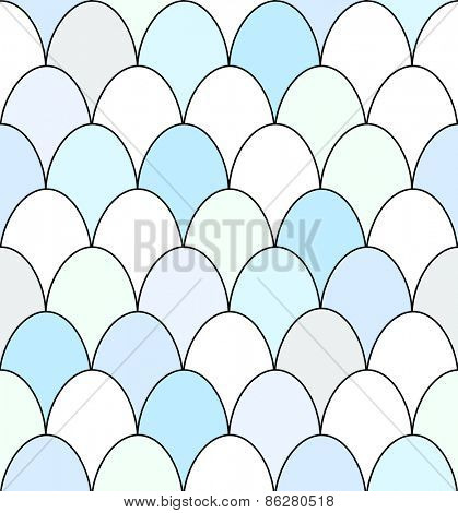 Seamless pattern of rows of blue and white duck eggs.