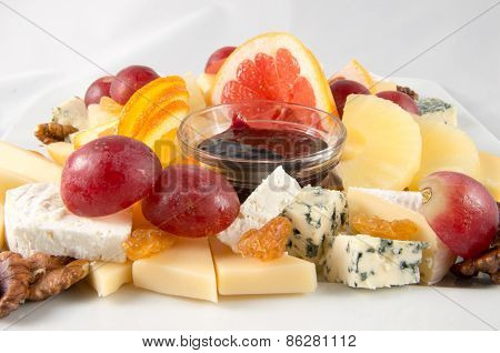 Fruits and cheeses.