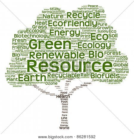 Conceptual green tree made of ecology, recycle or energy text as wordcloud isolated on white background