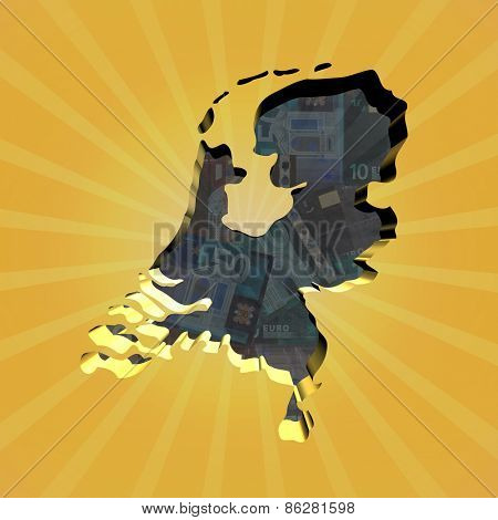 Netherlands map on euros sunburst illustration
