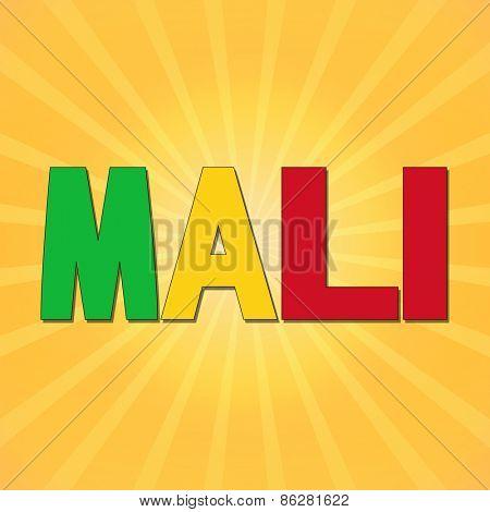 Mali flag text with sunburst illustration