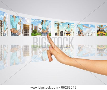 Woman on background of building