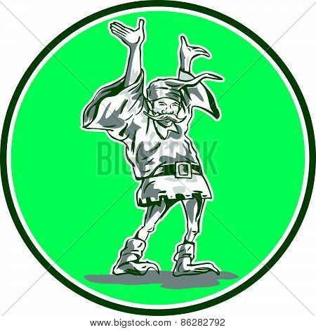 Dwarf Elf Raising Hands Circle Cartoon