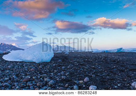 Ice on volcano sand rock