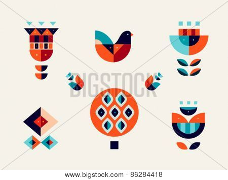 Vector set design elements, geometric bird and flowers. AI EPS 10