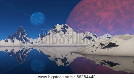 Red And Blue Planet On The Background Of Snowy Mountains.