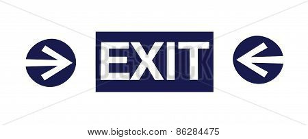 Exit sign with two arrows on white background
