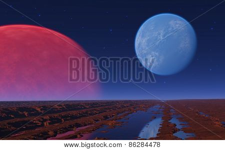 Red And Blue Planet In The Star Sky.