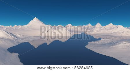 Snowcapped Mountains Surrounded By Water.