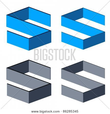 vector 3D abstract letter S symbols