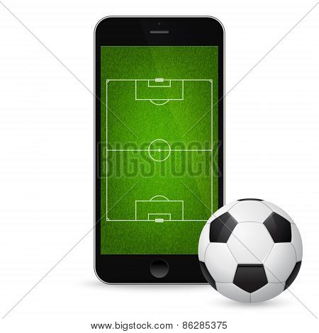 Vector modern smartphone with a soccer ball