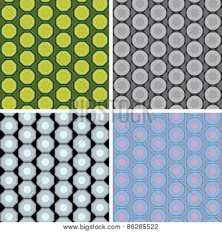 seamless octagon pattern set