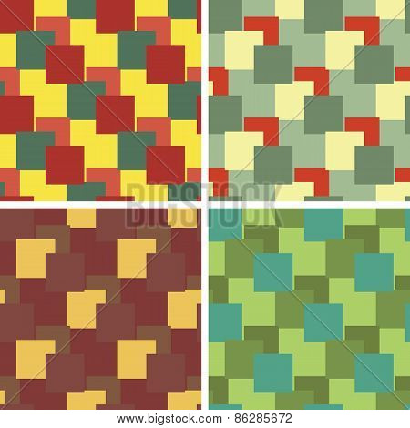 seamless rectangulars pattern set