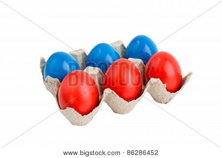 Colorful Easter Eggs In Box Isolated Over White