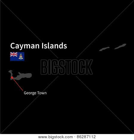 Detailed map of Cayman Islands and capital city George Town with flag on black background