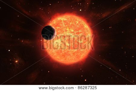Huge Sun With A Moon