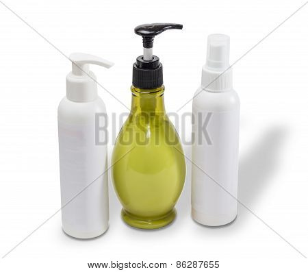 Three Bottles With Cosmetics
