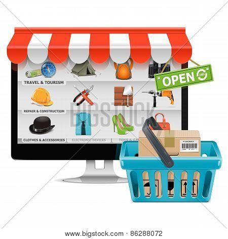Vector Computer Shop With Basket
