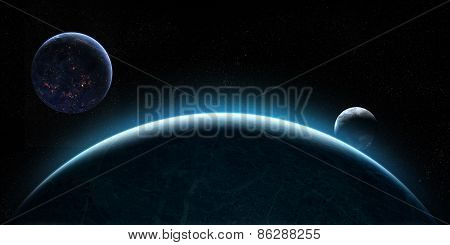 Rising Moons In Space