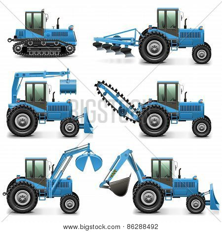 Vector Agricultural Tractor Set 1
