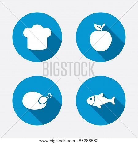 Food icons. Apple fruit with leaf symbol.