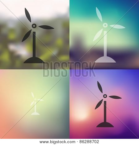 wind turbines icon on blurred background