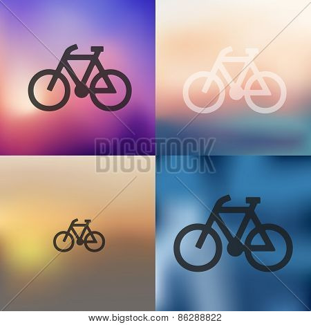 bicycle icon on blurred background