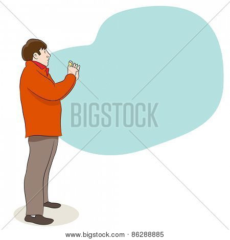An image of a man taking a picture with his camera.