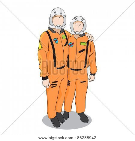 An image of two astronauts posing in uniform.