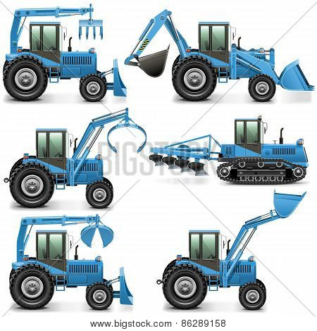 Vector Agricultural Tractor Set 3