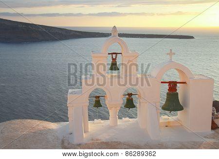 whit belfry, Santorini island, Greece