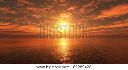 Clouds Over The Sea At Sunset.