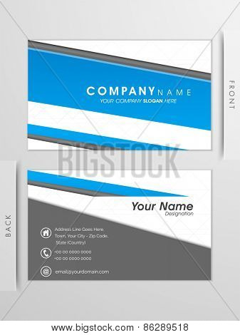 Professional business card or visiting card set in blue and grey colors.