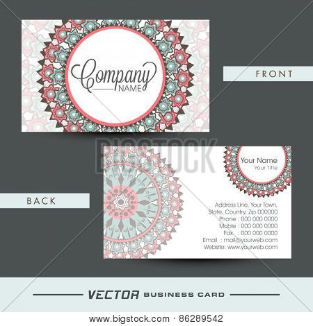 Beautiful floral design decorated business card or visiting card set.