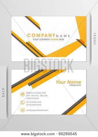 Elegant, Clean, Professional business and visiting card set with yellow abstract lines. Front side & Back side presentation.