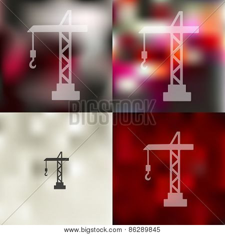 hoisting crane icon on blurred background