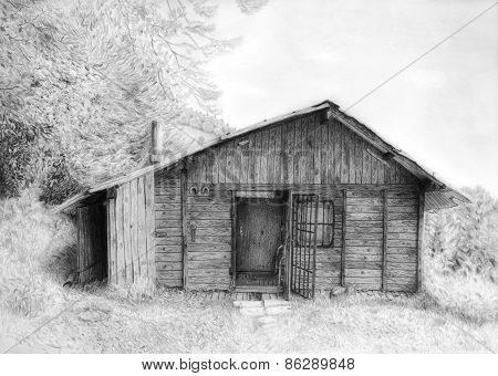 Romantic Wooden Cabin In Mountain Landscape, Beautiful Pencil Drawing