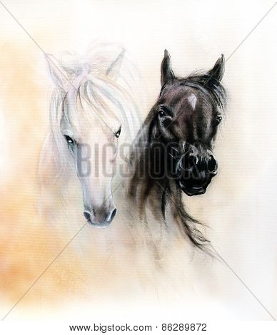 Horse Heads, Two Black And White Horse Spirits, Beautiful Detailed Oil Painting On Canvas