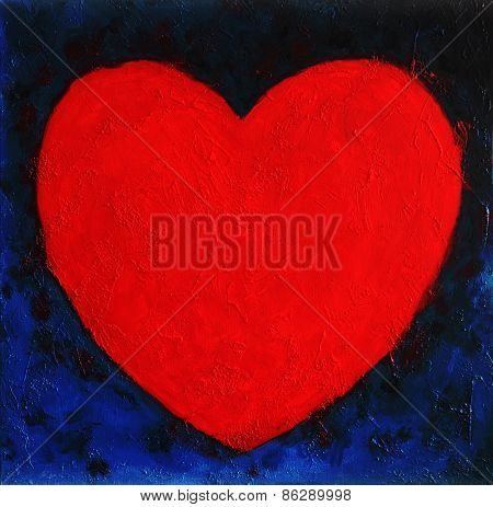 Heart Shape Symbol, Bright Red On Blue Abstract Background, valentin