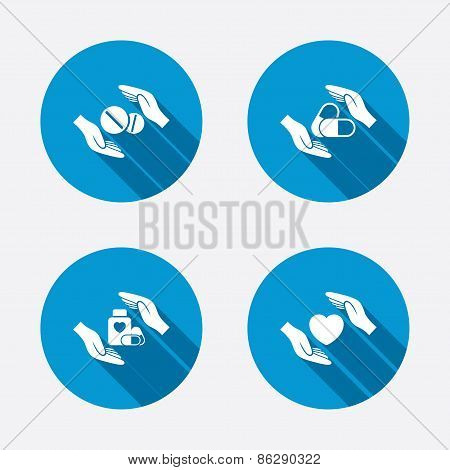 Hands insurance icons. Health medical pills.