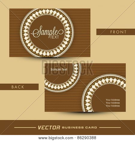 Beautiful floral design decorated business card or visiting card set in brown color.