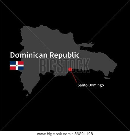 Detailed map of Dominican Republic and capital city Santo Domingo with flag on black background