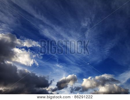 Sunny Sky With Clouds In Wind Evening