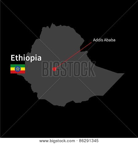 Detailed map of Ethiopia and capital city Addis Ababa with flag on black background
