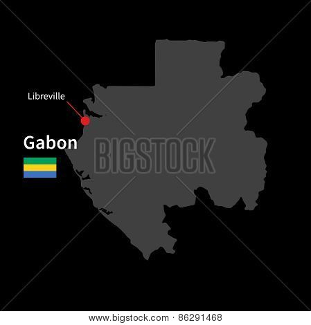 Detailed map of Gabon and capital city Libreville with flag on black background
