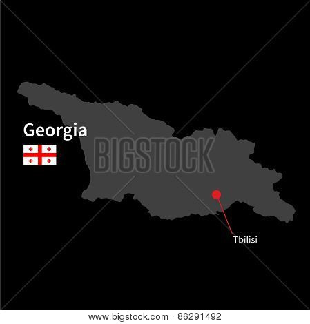 Detailed map of Georgia and capital city Tbilisi with flag on black background