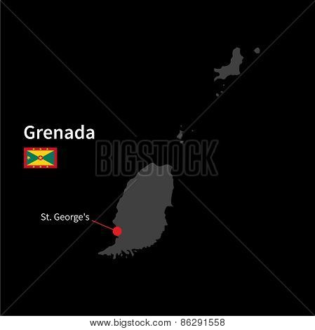 Detailed map of Grenada and capital city St. George's with flag on black background