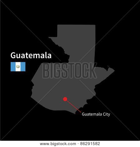 Detailed map of Guatemala and capital city Guatemala City with flag on black background